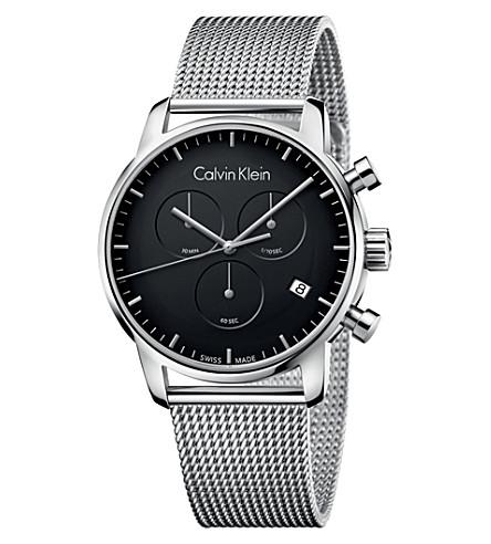 CALVIN KLEIN 城市不锈钢计时腕表 (黑色