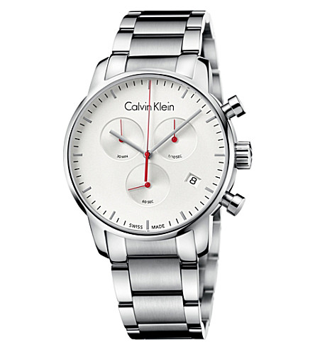 CALVIN KLEIN City stainless steel chronograph watch (White
