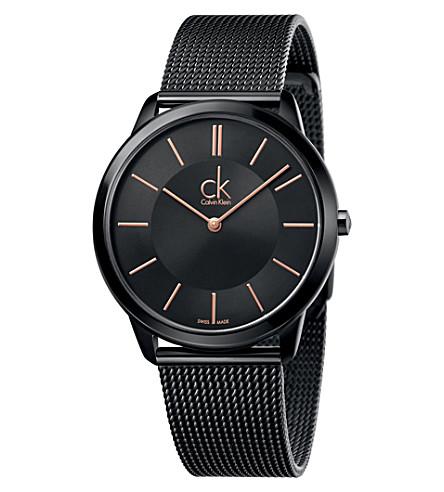 CALVIN KLEIN K3M21421 最小 PVD 镀钢表 (黑色