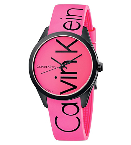 CALVIN KLEIN Colour stainless steel and rubber watch (Pink