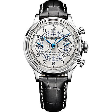 BAUME & MERCIER M0A10006 Capeland stainless steel and leather watch (Cream