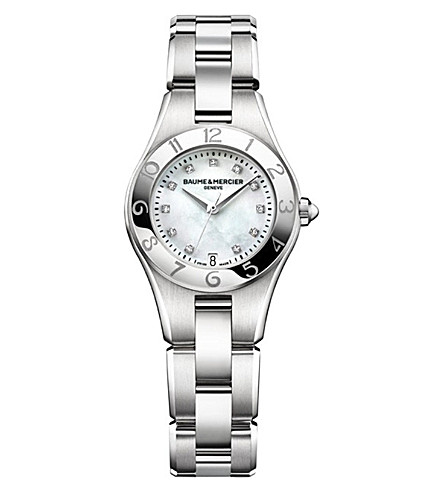 BAUME & MERCIER M0A10011 Linea stainless steel and diamond watch (Mother-of-pearl
