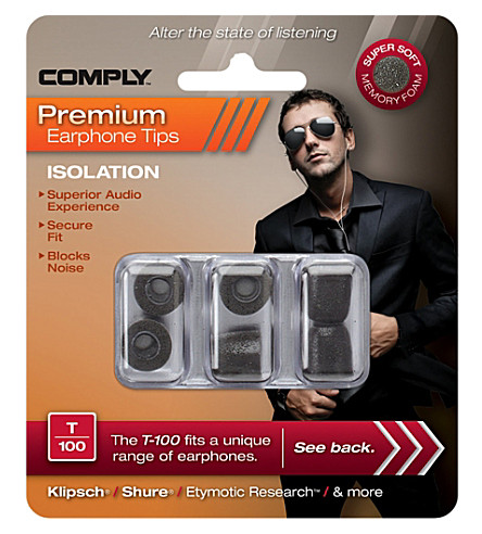 COMPLY T100 Isolation Premium Earphone tips, three medium pairs