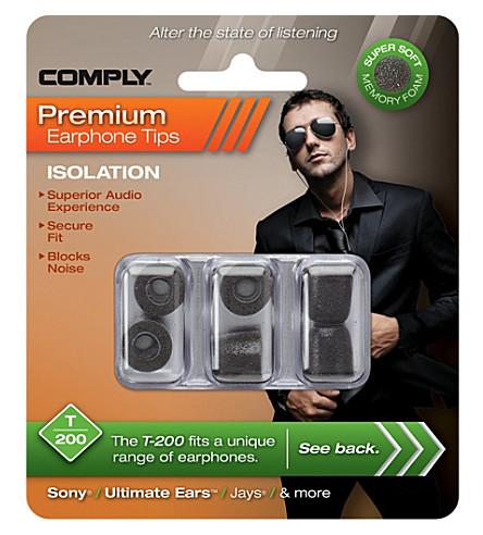 COMPLY T200 Isolation Premium Earphone tips, three medium pairs