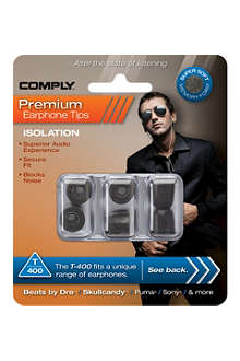 COMPLY T400 Isolation Premium Earphone tips, three medium pairs