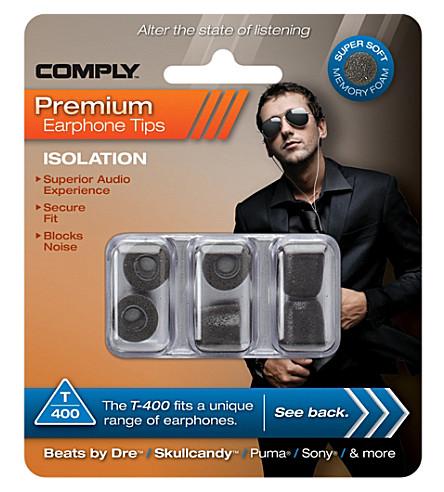 COMPLY T400 Isolation Premium Earphone tips, three medium pairs