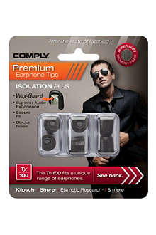 COMPLY Tx100 Isolation Plus Eartips, three medium pairs