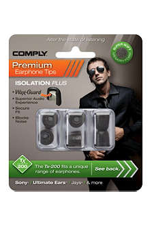 COMPLY Tx200 Isolation Plus Eartips, three medium pairs