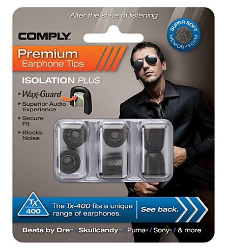 COMPLY Tx400 Isolation Plus Eartips, three medium pairs