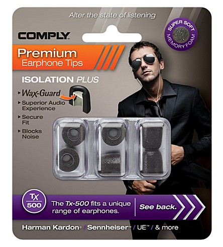 COMPLY Tx500 Isolation Plus Eartips, three medium pairs