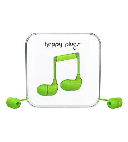 HAPPY PLUGS Green in-ear headphones