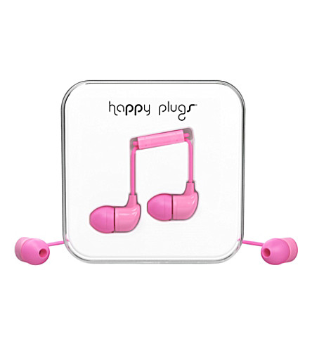HAPPY PLUGS Pink in-ear headphones
