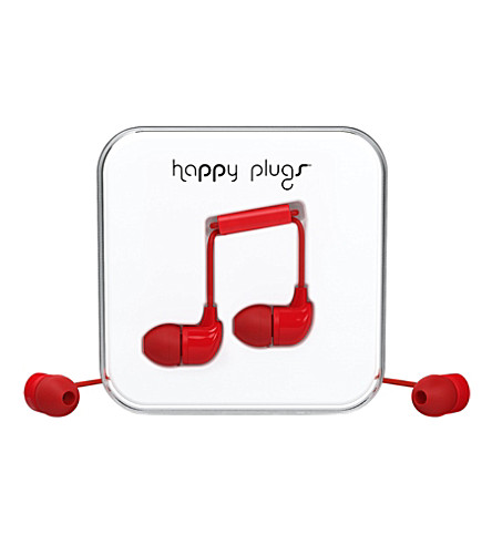 HAPPY PLUGS Red in-ear headphones