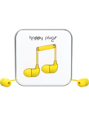 HAPPY PLUGS Yellow in-ear headphones