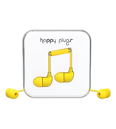 HAPPY PLUGS Yellow in-ear headphones