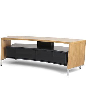 OFF THE WALL Curved 1500 oak veneer TV stand