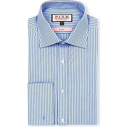 THOMAS PINK Alannis classic-fit double-cuff shirt (Blue/navy