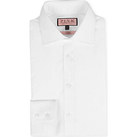 THOMAS PINK Poplin classic-fit single-cuff shirt (White