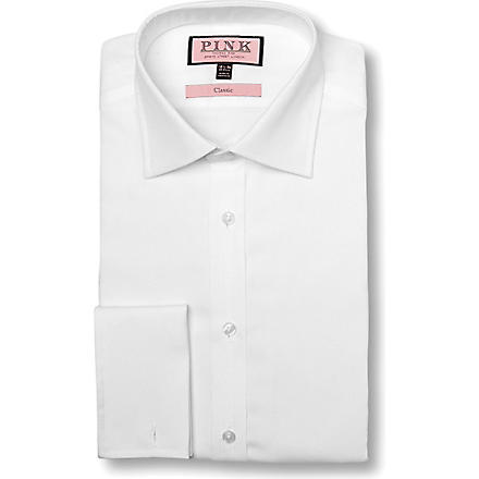 THOMAS PINK Poplin classic fit double cuff shirt (White