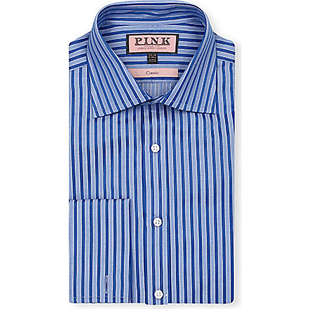 THOMAS PINK Mccartney classic-fit double-cuff shirt (Blue/blue