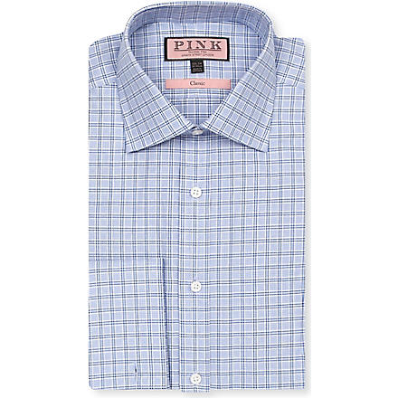 THOMAS PINK Lancaster classic-fit double-cuff shirt (White/blue