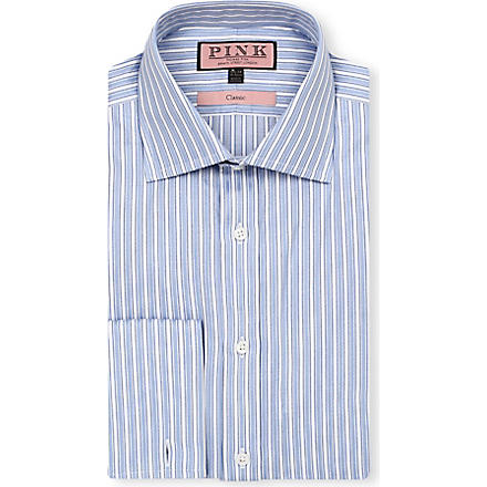THOMAS PINK Prescott classic-fit double-cuff shirt (Blue/white