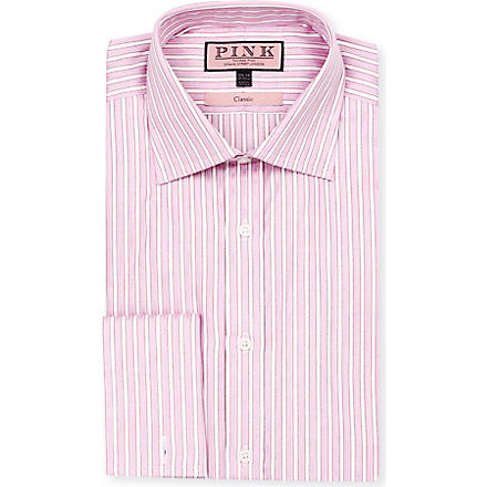 THOMAS PINK Prescott classic-fit double-cuff shirt (Pink/white