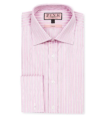 THOMAS PINK Prescott classic-fit double-cuff shirt (Pink/white