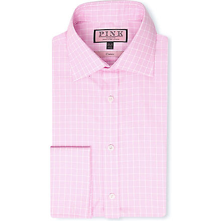 THOMAS PINK Lothian classic-fit double-cuff shirt (Pink/white