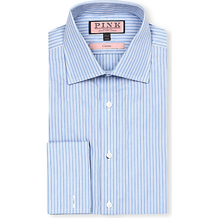THOMAS PINK Allason classic-fit double-cuff shirt (Blue/white
