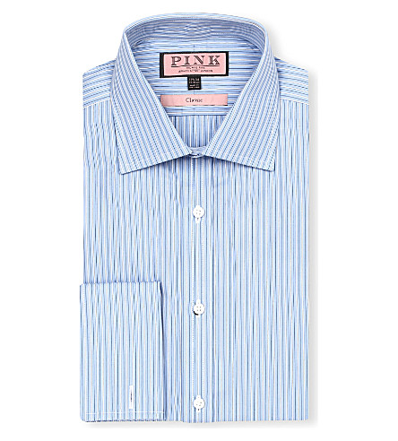 THOMAS PINK Allason classic-fit double-cuff shirt (Blue/white