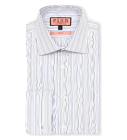 THOMAS PINK Cobbe classic-fit double-cuff shirt (White/blue
