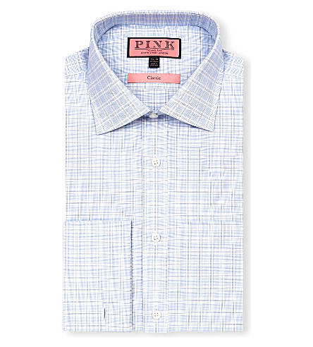 THOMAS PINK Ballarne classic-fit double-cuff shirt (White/blue