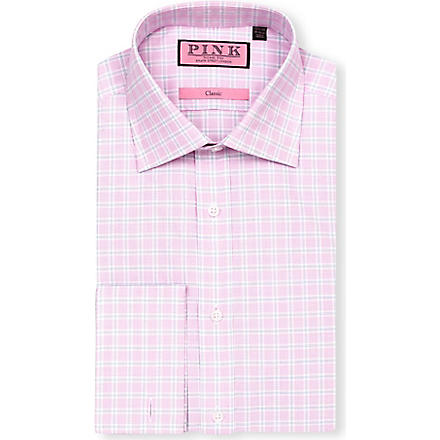 THOMAS PINK Ballarne classic-fit double-cuff shirt (White/pink