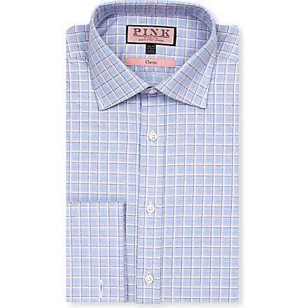 THOMAS PINK Monckton classic-fit double-cuff shirt (Blue/pink