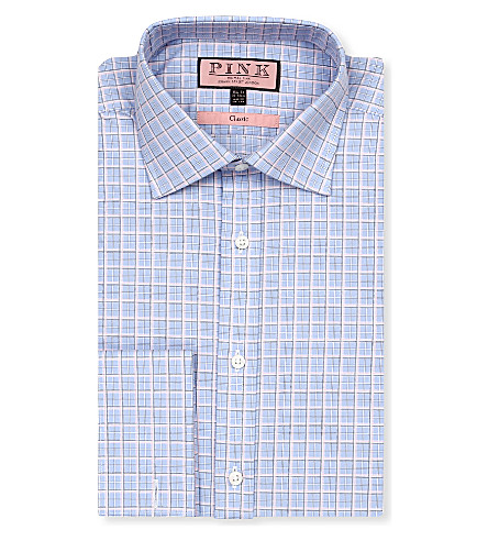 THOMAS PINK Monckton classic-fit double-cuff shirt (Blue/pink