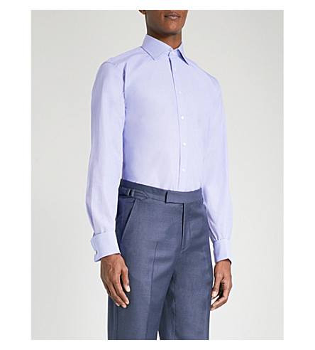 THOMAS PINK Oscar classic-fit cotton-poplin shirt (Blue