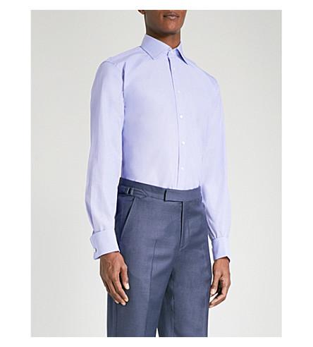 THOMAS PINK 奥斯卡经典-合身棉府绸衬衫 (蓝色