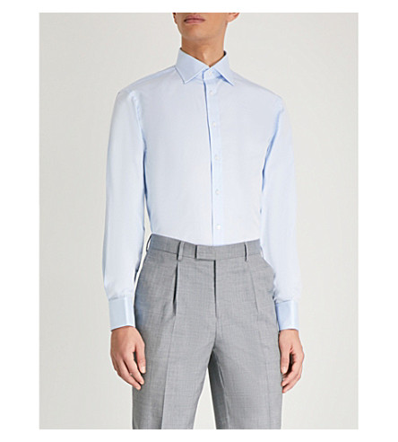 THOMAS PINK Frederick classic-fit cotton-poplin shirt (Pale+blue