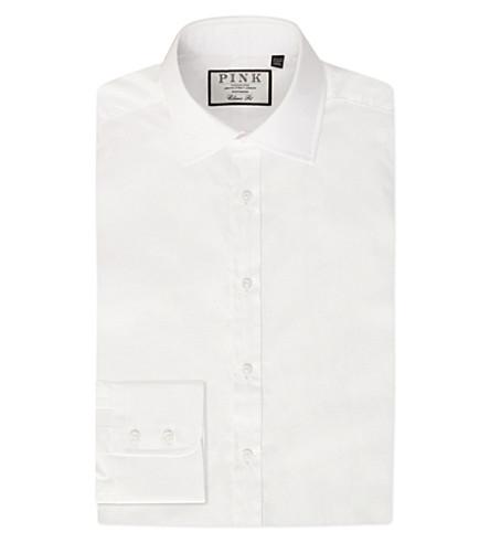 THOMAS PINK 经典-合身纽扣袖棉衬衫 (白色