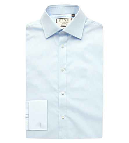 THOMAS PINK Frederick classic-fit double-cuff cotton shirt (Pale+blue