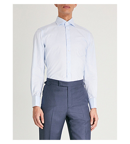 THOMAS PINK Winston classic-fit cotton-poplin shirt (Pale+blue