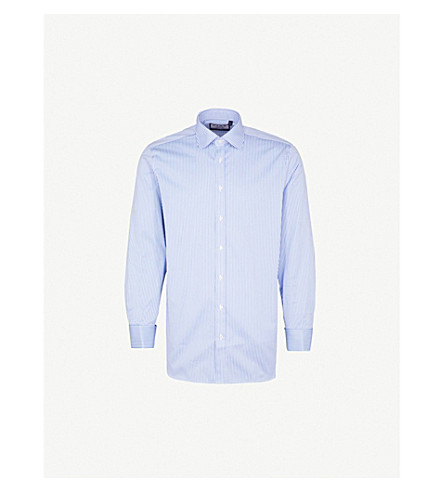 THOMAS PINK Grant striped classic-fit cotton shirt (Pale+blue/white