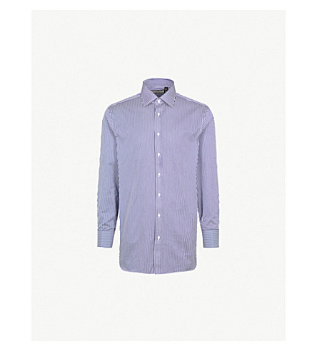 THOMAS PINK Grant striped classic-fit cotton shirt (Navy/white