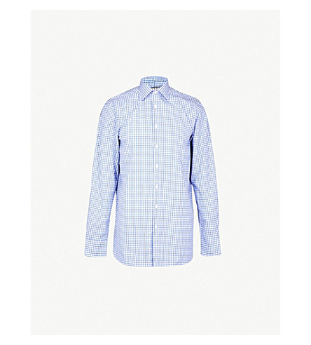 THOMAS PINK Summers slim-fit cotton shirt (Pale+blue/white