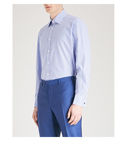 THOMAS PINK Summers checked classic-fit cotton shirt (Pale+blue/white