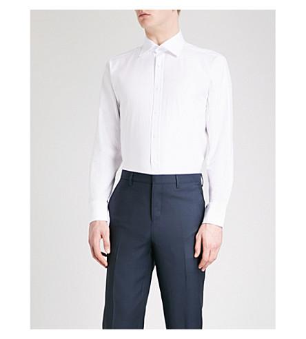 THOMAS PINK Timothy herringbone classic-fit cotton shirt (White