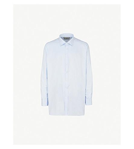 THOMAS PINK Timothy herringbone classic-fit cotton shirt (Pale+blue