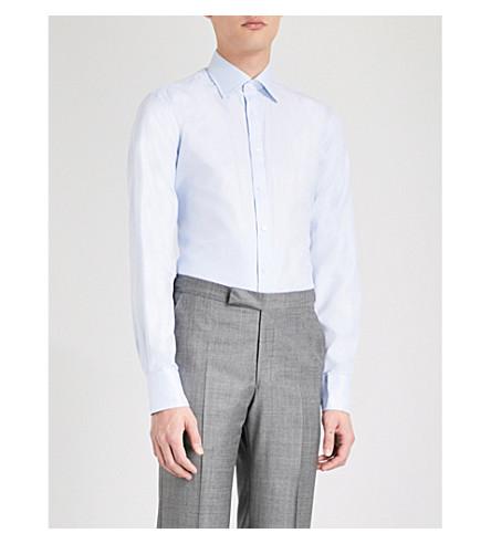 THOMAS PINK Timothy classic-fit cotton shirt (Pale+blue