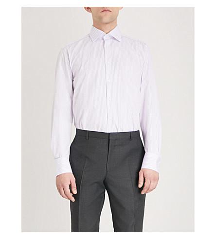 THOMAS PINK Murray striped classic-fit cotton shirt (White/purple